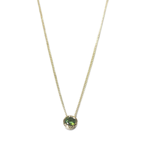 Green Tourmaline and 9ct Yellow Gold Pendant