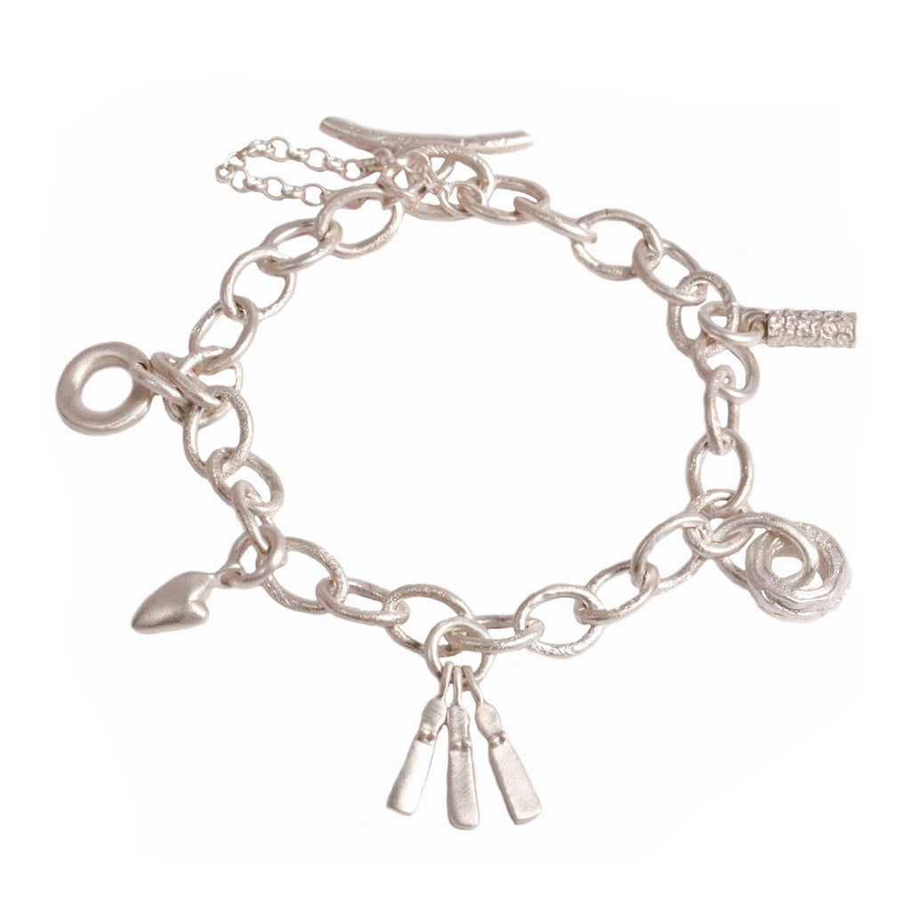 Fine Link Textured Charm Bracelet With Five Charms