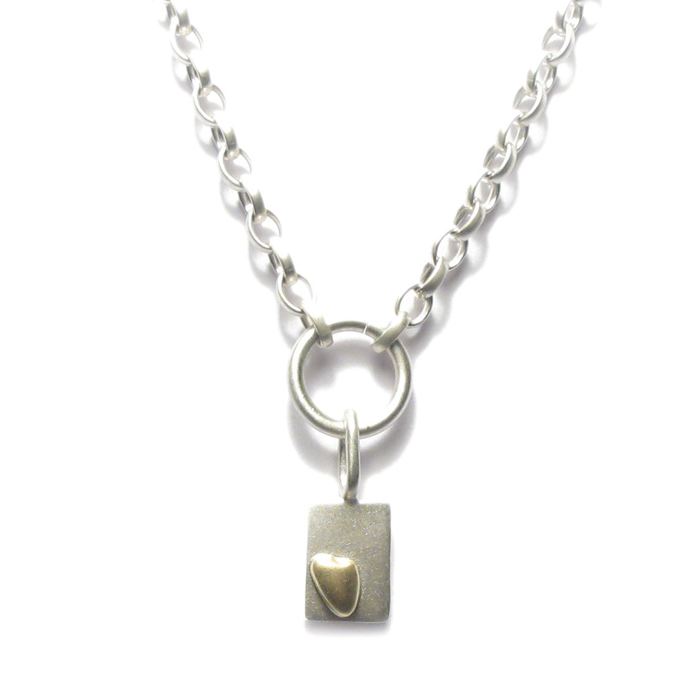 Diana Porter Jewellery contemporary silver gold heart pendant necklace