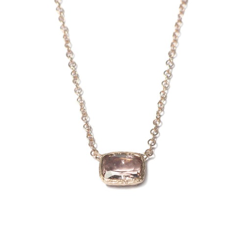 Cushion Cut Pink Tourmaline and 9ct Rose Gold Pendant