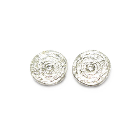 Etched Silver and 0.02ct Diamond Ear Studs