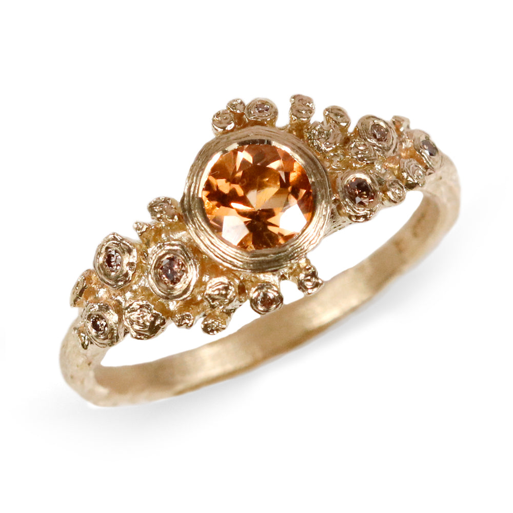 14ct Fairtrade Yellow Gold Ring Set with Peach Tourmaline and Champagne Diamonds