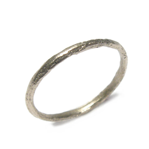 Tiny 18ct Textured White Gold Ring