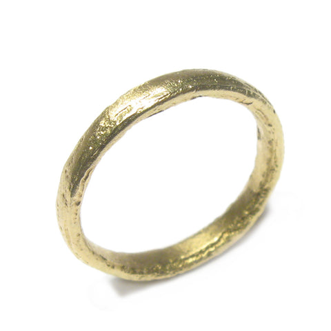 Narrow, Textured 18ct Green Gold Ring