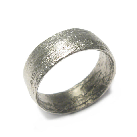 Wide, Textured 9ct White Gold Ring