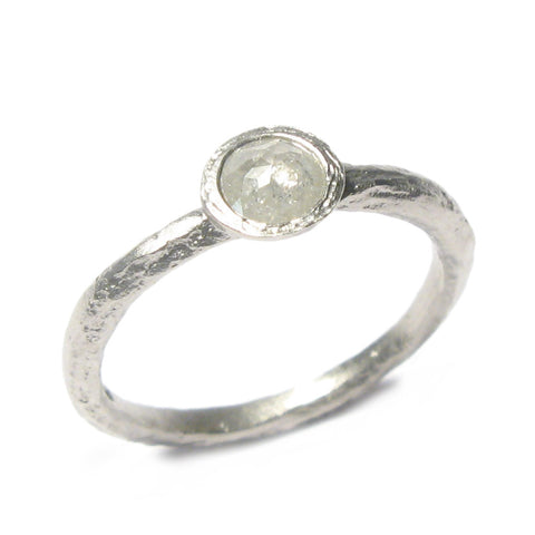 Textured 9ct White Gold Ring with 0.32ct Rose Cut Diamond