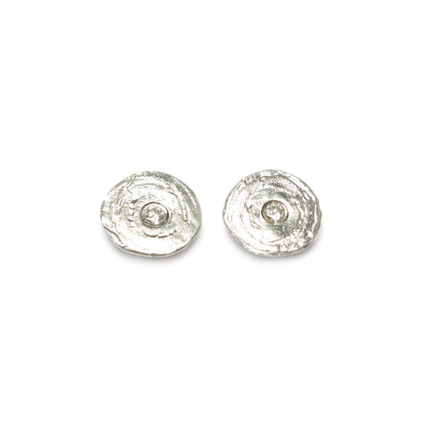 Textured Silver Ear Studs with 0.01ct Diamonds