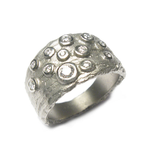 Wide Tapered Platinum Ring with 12 Diamonds