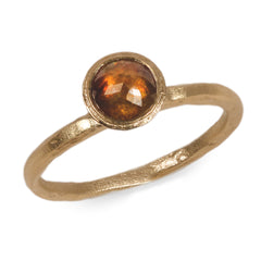 18ct Fairtrade Yellow Gold Etched Ring Set with Cognac Rose Cut Diamond