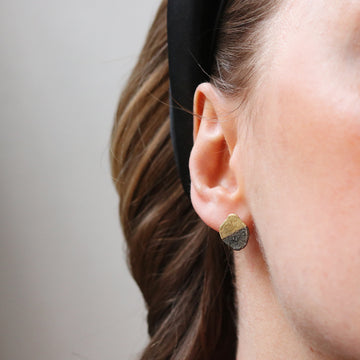 Disa Allsopp Oxidized and 18ct Yellow Gold Ear Studs