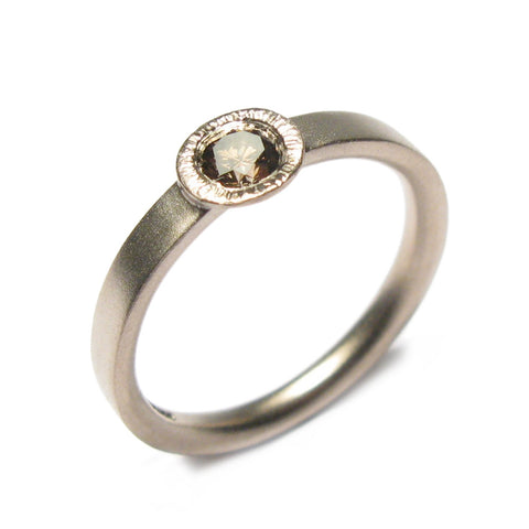 18ct White Gold Ring with 0.30ct Brown Diamond