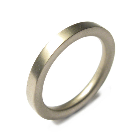 18ct White Gold Reverse D Plain Ring