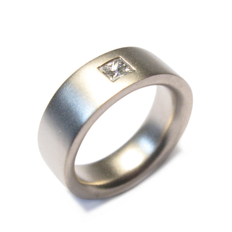 Wide 18ct White Gold Reverse D Riing with 0.35ct Princess Cut Diamond