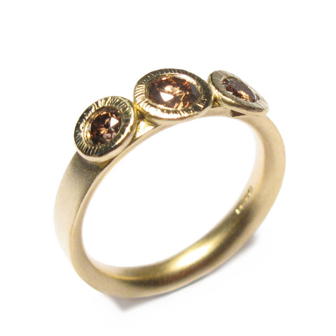 18ct Yellow Gold Ring with Three Brown Diamonds