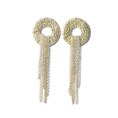 Diana Porter Jewellery contemporary etched silver gold earrings