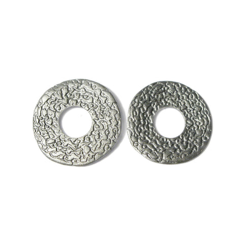 Silver 'Being' Disc Ear Studs