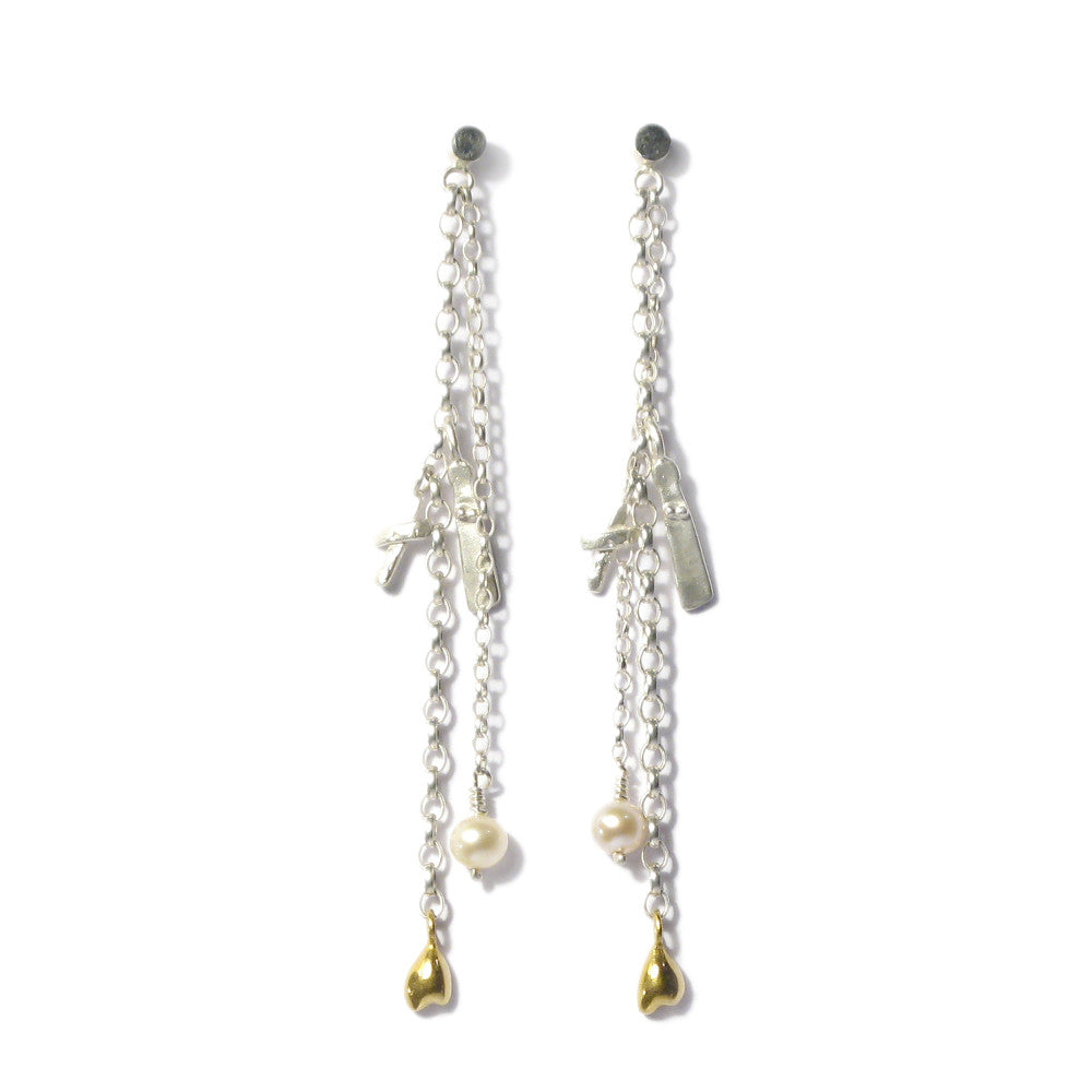 Diana Porter Jewellery contemporary silver gold drop earrings