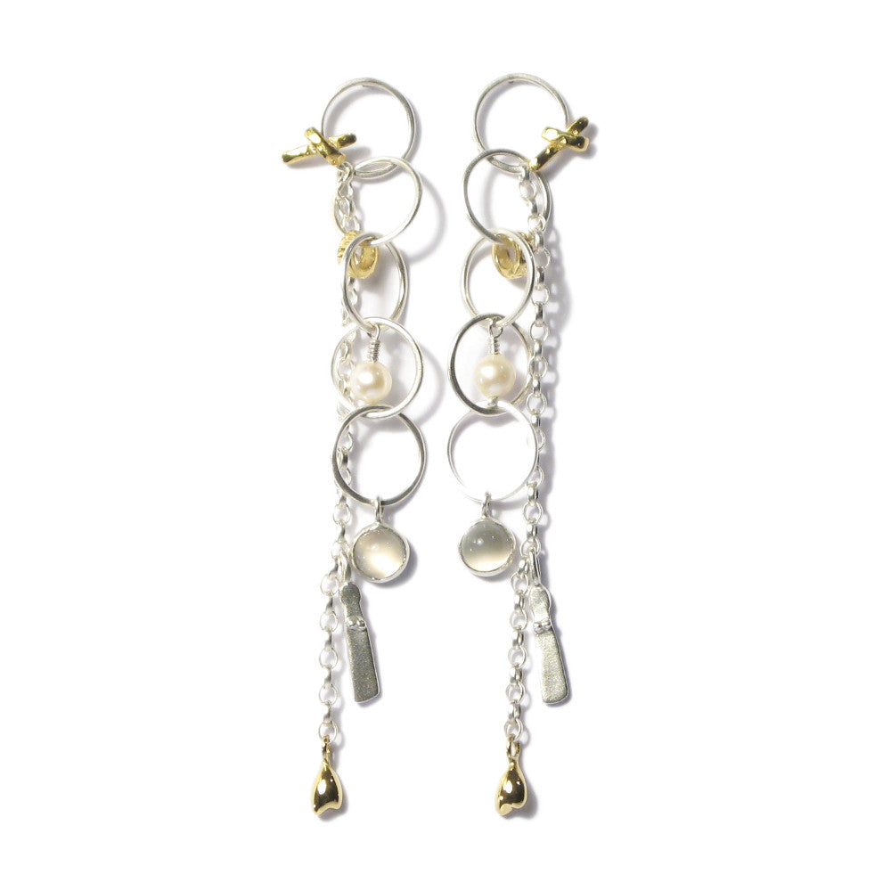 Diana Porter Jewellery contemporary silver and gold drop earrings