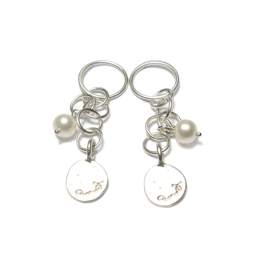 Diana Porter Jewellery contemporary silver and pearl drop earrings