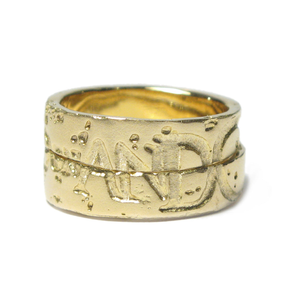 Diana Porter Jewellery etched and on yellow gold partnership rings