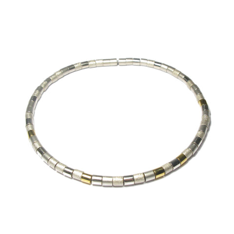 Silver and 24ct Yellow Gold Large Bead Necklace