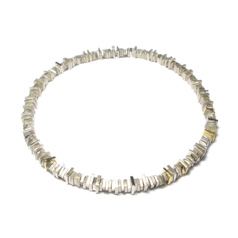 Silver and 24ct Yellow Gold Square Bead Necklace
