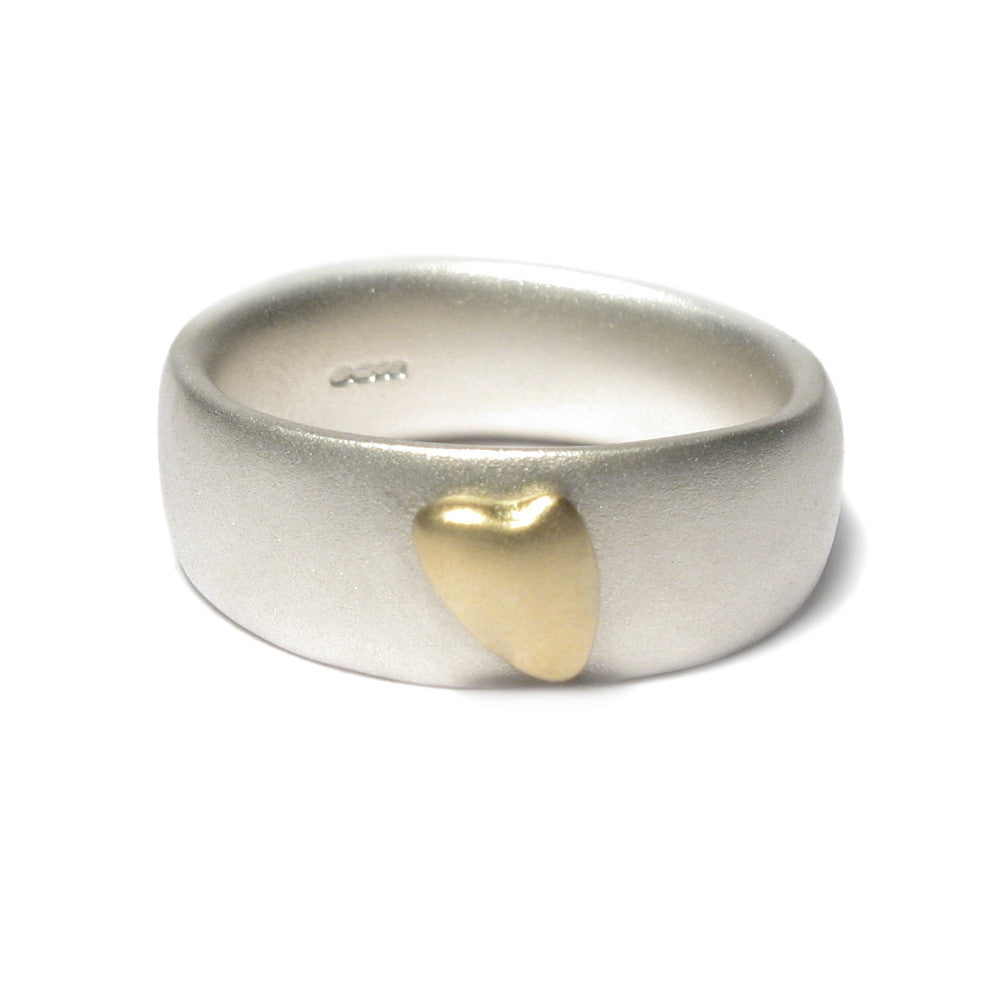 Diana Porter Jewellery contemporary silver gold heart ring