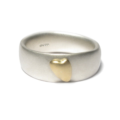 Silver Ring with 18ct Yellow Gold Heart