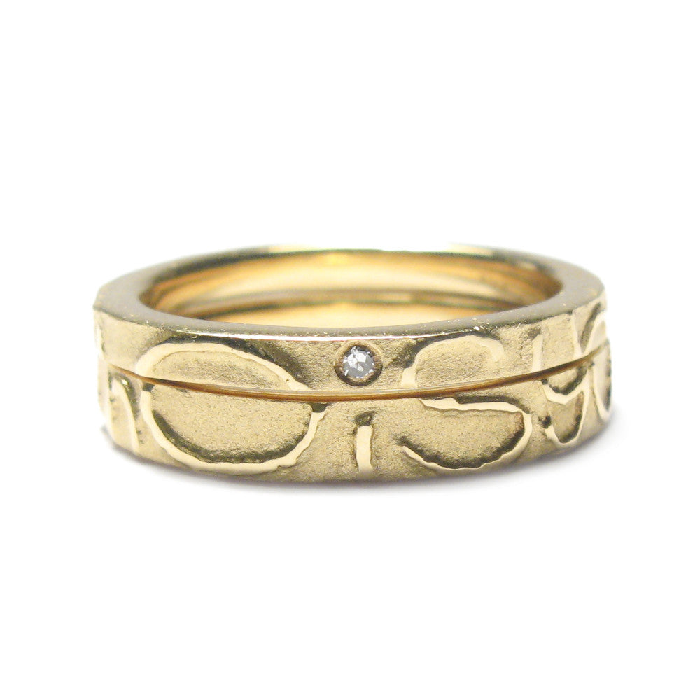 Diana porter Jewellery contemporary gold etched partnership rings