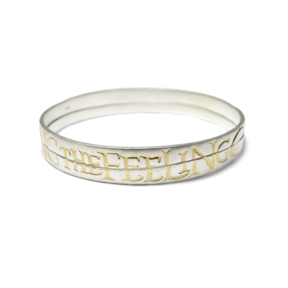 Diana Porter Jewellery contemporary etched silver gold partnership bangles