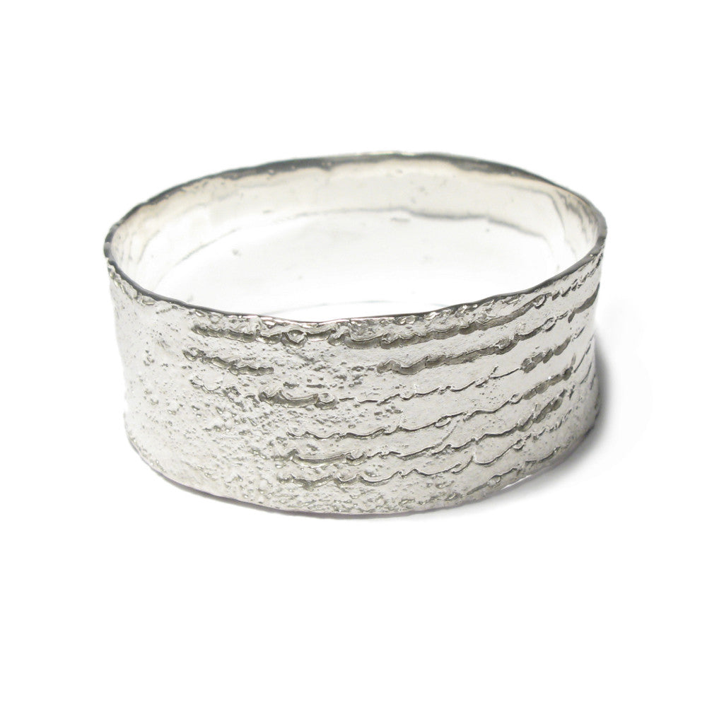 Diana Porter Jewellery contemporary etched wide silver bangle