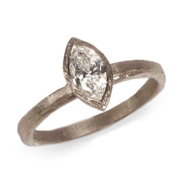 18ct Fairtrade White Gold with a Marquise Diamond