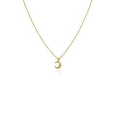 Momocreatura Micro crescent moon necklace gold plate