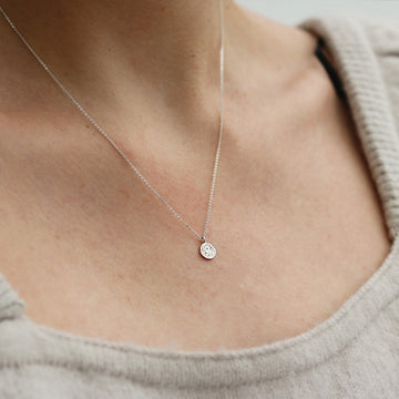 Momocreatura Mini Moon Disc Silver Necklace