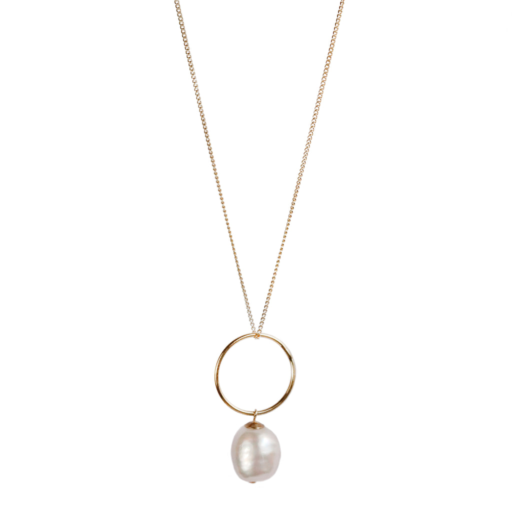 Mounir Hoop pendant with large pearl