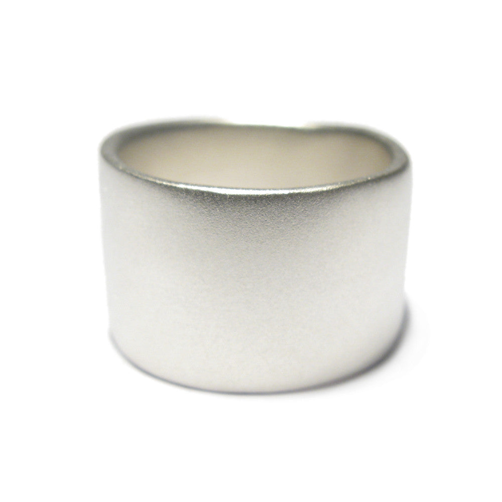 Diana Porter Jewellery contemporary wide silver wedding ring