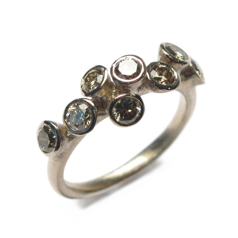 18ct White Gold Multi Set Ring with Eight Brown Diamonds