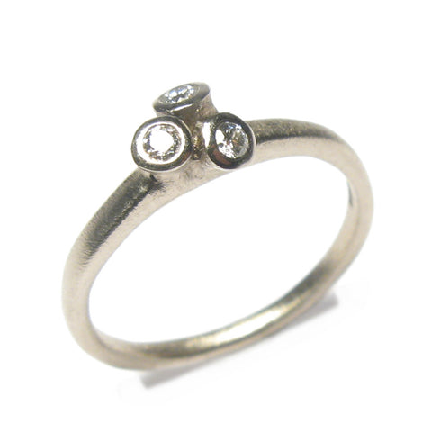 18ct White Gold Tiny Multi Set Ring with Three Brilliant Cut Diamonds