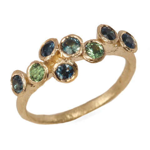 SOLD -Fair Mind 18ct Yellow Gold 'One-Of-Kind' Ring with Eight Australian Sapphires