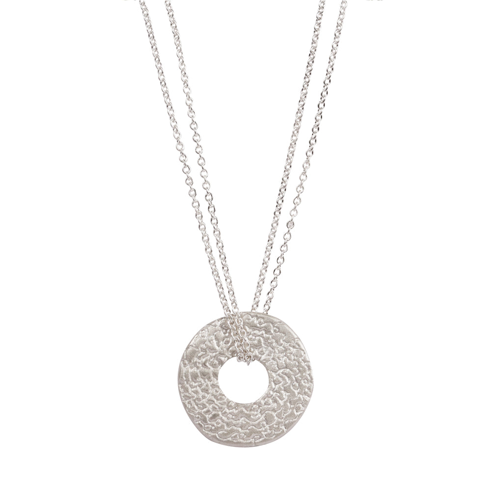 Silver 'Being' Disc Pendant