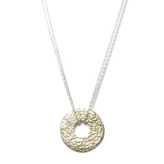 Diana Porter Jewellery contemporary etched silver gold necklace