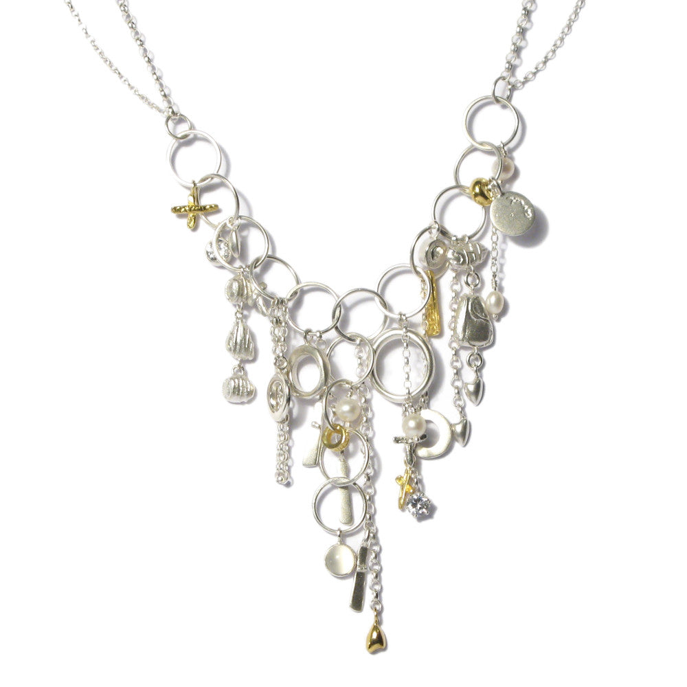 Diana Porter Jewellery contemporary silver and gold charm necklace