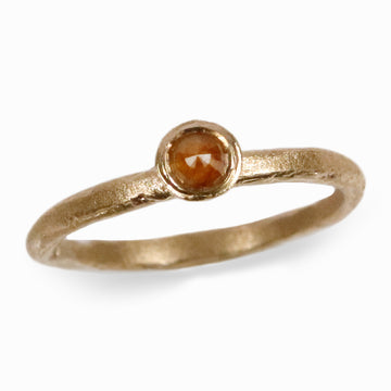 9ct Fairtrade Yellow Gold Ring with Cognac Rose Cut Diamond