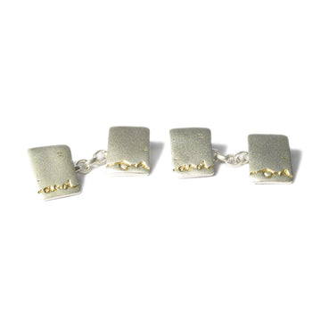 Diana Porter Jewellery contemporary etched silver gold cufflinks