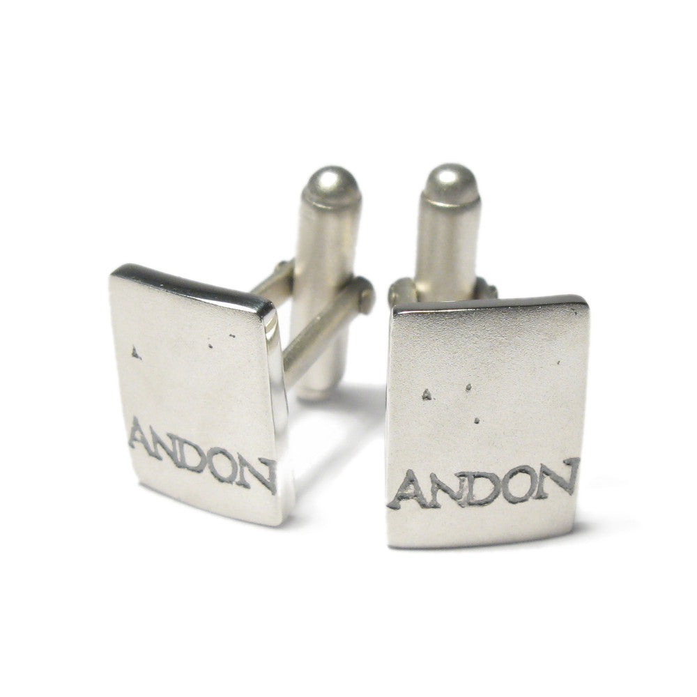 Diana Porter Jewellery contemporary etched silver cufflinks