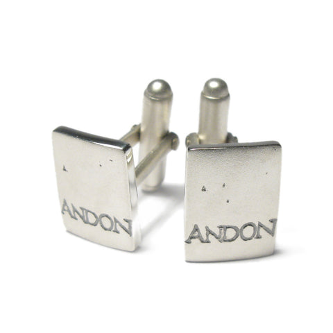 Silver Rectangle 'ON AND ON' Cufflinks