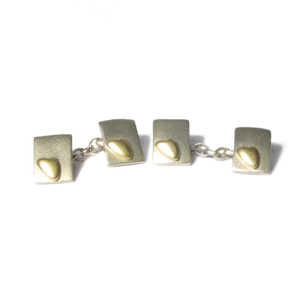 Diana Porter Jewellery silver and gold heart cufflinks