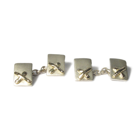 Silver and Yellow Gold Kiss Cufflinks