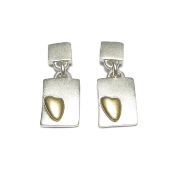 Diana Porter Jewellery contemporary silver and gold heart drop earrings
