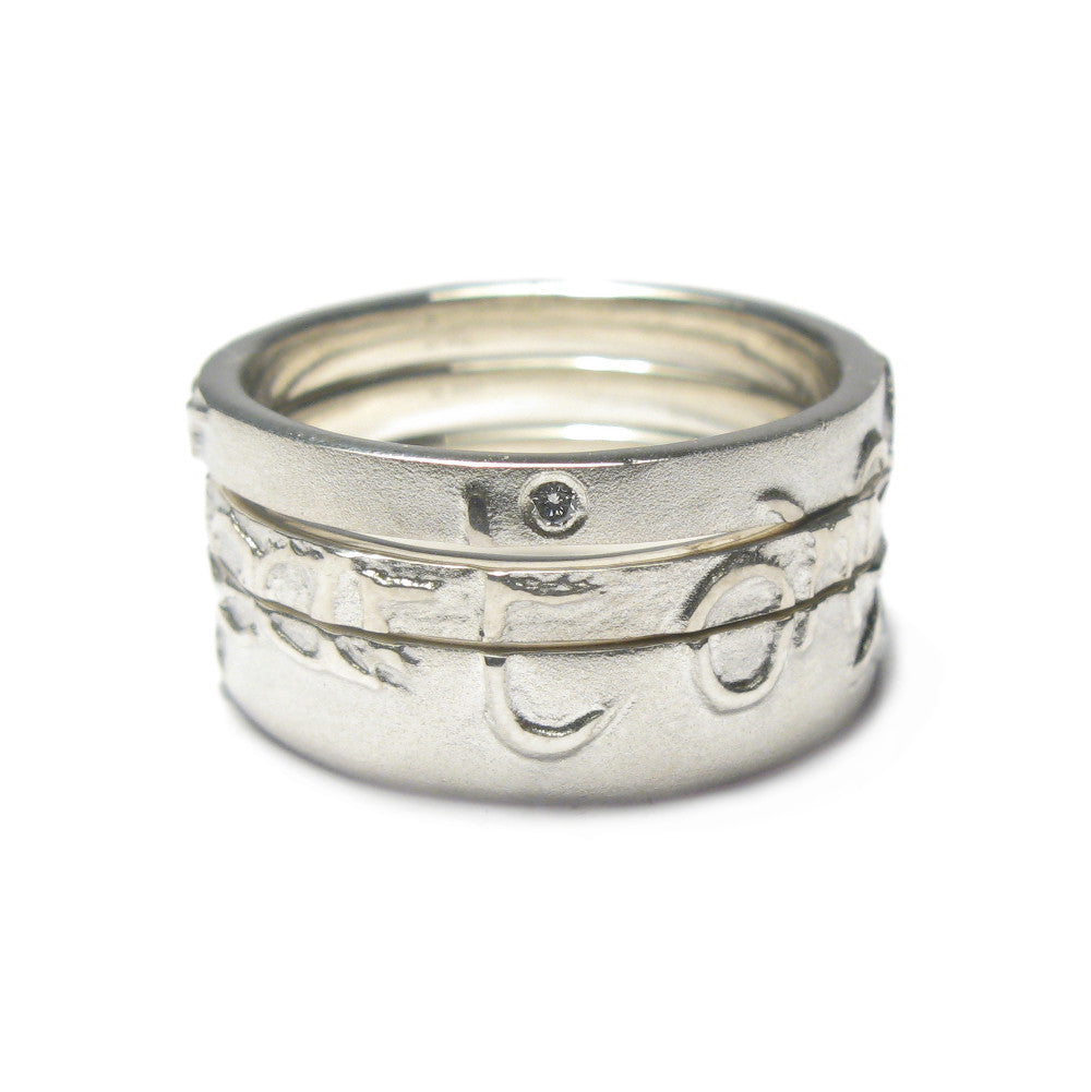 Diana Porter Jewellery contemporary etched silver diamond partnership rings